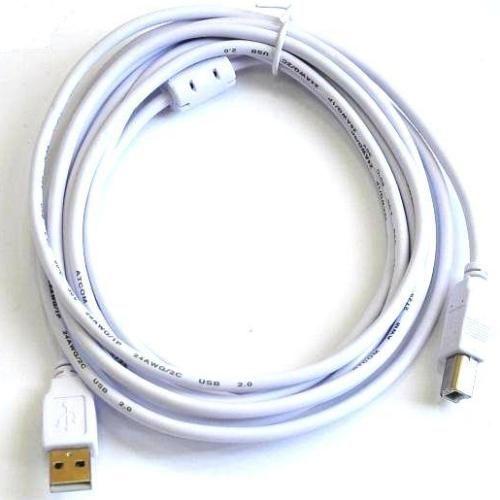 Кабель USB*2.0 Am-Bm AT8099 феррит - 3 метра, белый
