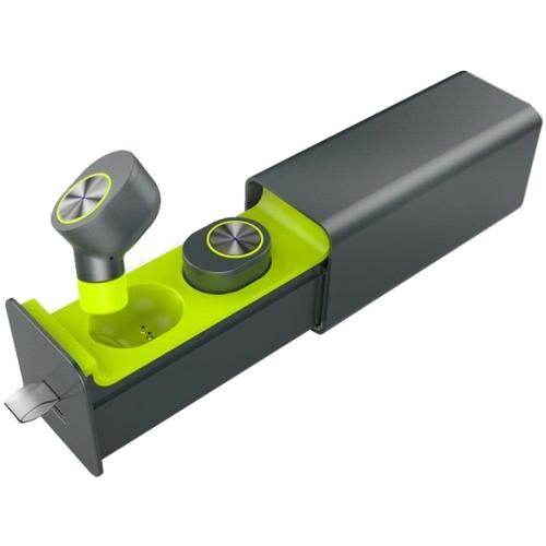 Bluetooth наушники вкладыши с микрофоном  Qcyber TWS V1, беспроводная мобильная гарнитура, серо-зелёные