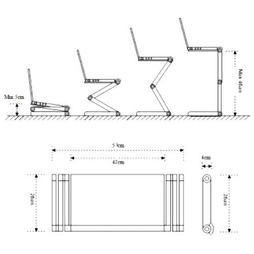 Столик подставка для ноутбука Orient FTNB-01N регулировка высоты от 5 до 46см