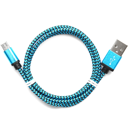 Кабель микро USB*2.0 Am-microB Cablexpert CC-mUSB2bl1m, нейлоновая оплетка, алюминиевые разъемы - 1 метр, синий