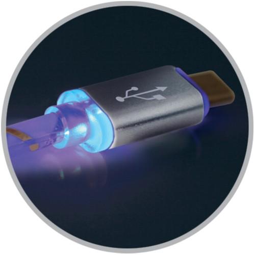 Кабель микро USB*2.0 Am-microB Defender USB08-03LT, LED-подсветка - 1 метр, серый