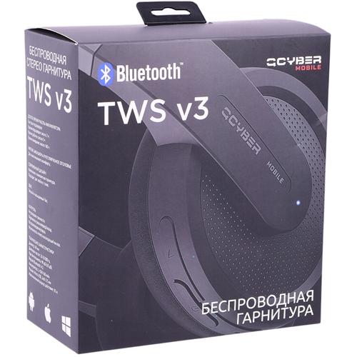 Bluetooth наушники с микрофоном QCyber TWS V3, беспроводная полноразмерная гарнитура, черная