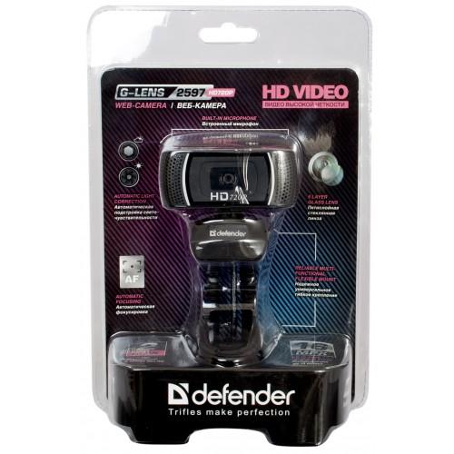 Веб-камера Defender G-lens 2597 HD 720P, сенсор 2.0 МП микрофон, usb