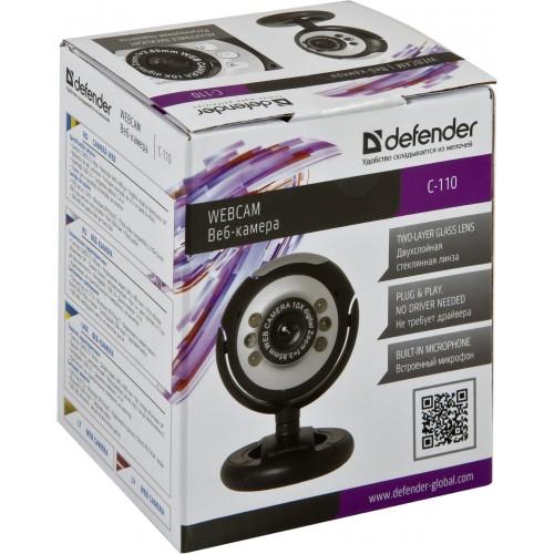 Веб-камера Defender C-110 сенсор 0.3 МП, микрофон, фотосъёмка, usb - чёрная