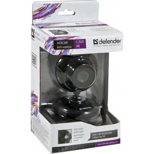 Веб-камера Defender С-2525 HD сенсор 2.0 МП микрофон, фотосъёмка, usb