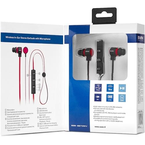 Bluetooth наушники вкладыши с микрофоном Sven SEB-B270MV V4.1, беспроводная мобильная гарнитура, чёрно-красные