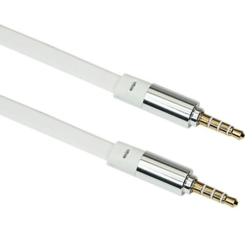 Аудио кабель штекер-штекер 3.5 мм 4-контакта для смартфона, позолоченные разъемы, белый - 1 метр