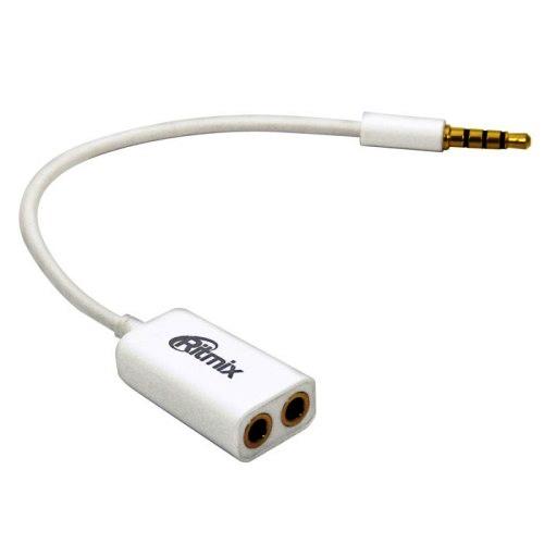 Аудио-переходник штекер 3.5мм разветвитель на два гнезда 3.5мм RAS-150 Ritmix, кабель 0.1м - белый