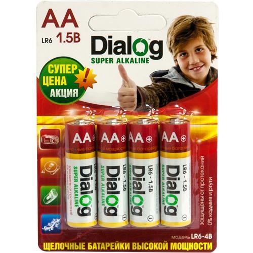 Батарейка AA щелочная Dialog LR6-4B, alkaline, в блистере 4шт.