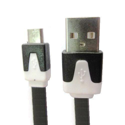 Кабель микро USB*2.0 Am-microB Dialog HC-A5410 - CU-0310F, плоский - 1 метр, чёрно-белый