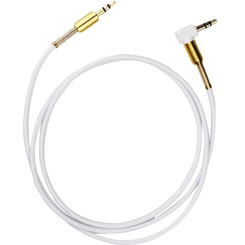 Аудио кабель штекер-штекер 3.5 мм, с угловым штекером, белый - 1 метр