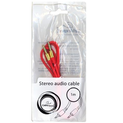 Аудио кабель штекер-штекер 3.5 мм Cablexpert CCA-3.5MM-1R, красный - 1 метр