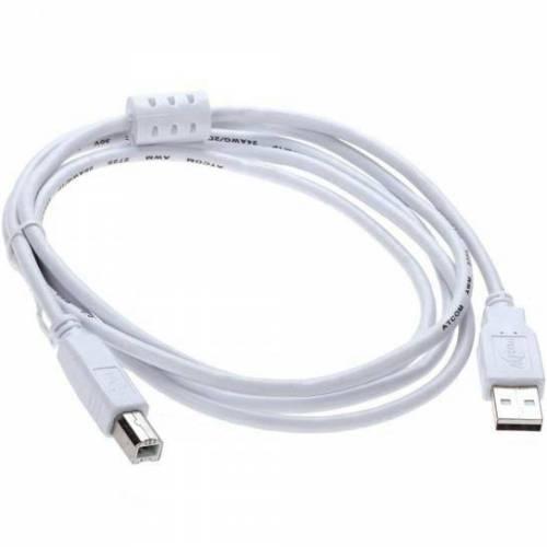 Кабель USB*2.0 Am-Bm AT6152 феррит - 0.8 метра, белый