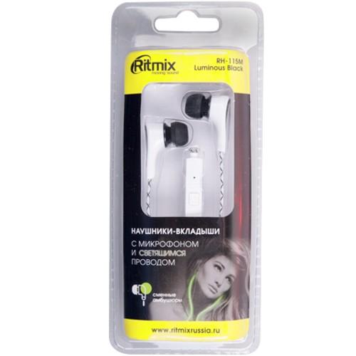 Наушники вкладыши с микрофоном Ritmix RH-115M black Luminous, мобильная гарнитура