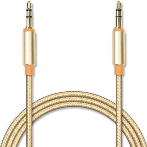 Аудио кабель штекер-штекер 3.5 мм, Jet-A JA-AC02, в оплётке, металлический разъём, позолота, золотой - 1 метр