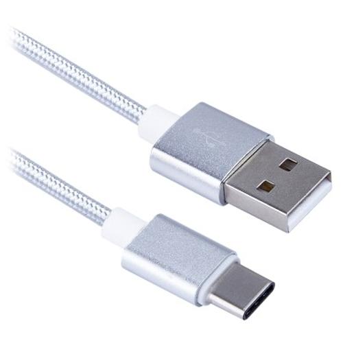 Кабель USB-Cm на USB*2.0-Am Blast BMC 416 - 1.5 метра, серебрянный, тканевая оплётка, коробка-бокс