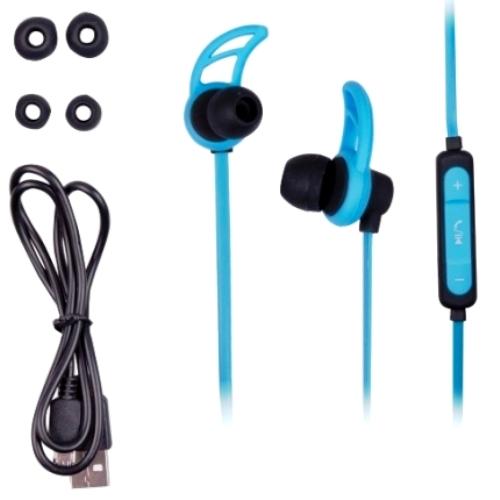 Bluetooth наушники вкладыши с микрофоном Ritmix RH-400BTH, V3, беспроводная мобильная гарнитура, синие