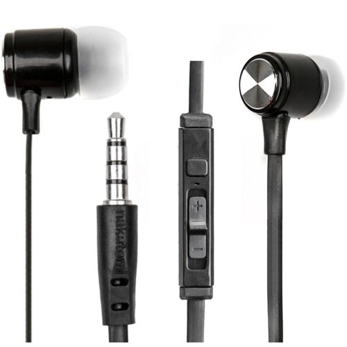 Наушники вкладыши с микрофоном Nakatomi ES-B31 black, мобильная гарнитура, чёрные
