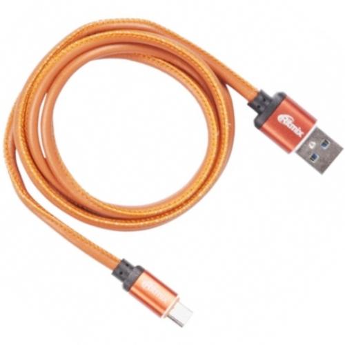 Кабель USB*2.0 Am-microB Ritmix RCC-415 Leather, в кожаной оплётке, до 2.5А - 1 метр