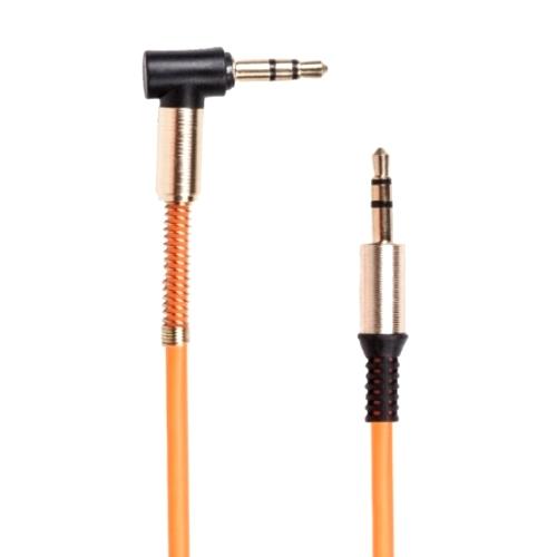 Аудио кабель штекер-штекер 3.5 мм, Ritmix RCC-247 Orange, Г-образные металлические разъёмы, пружина, оранжевый - 1 м