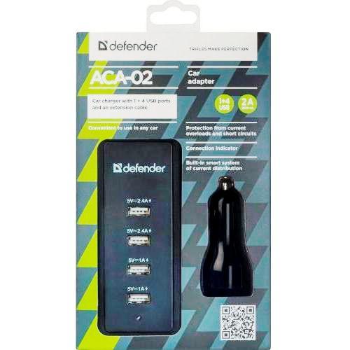 Автомобильный адаптер питания Defender ACA-02 зарядка до 9.2А USB-порт  плюс  удлинитель-хаб на 4 порта, чёрный