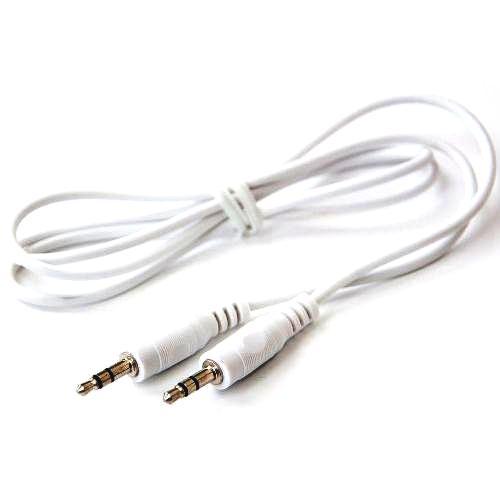 Аудио кабель штекер-штекер 3.5 мм, белый позолоченный - 1 метр