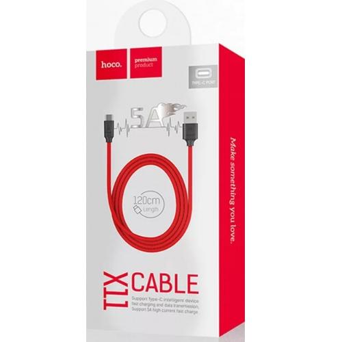 Кабель USB*2.0 Cm-Am Hoco X11 5А Rapid Black Red, ускоренная зарядка, красно-черный - 1.2 метра