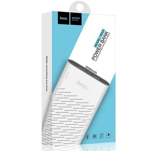 Внешний аккумулятор powerbank Hoco, B31A Rege White, 2 порта USB, 2.1А, 30000 мАч, индикатор заряда, белый