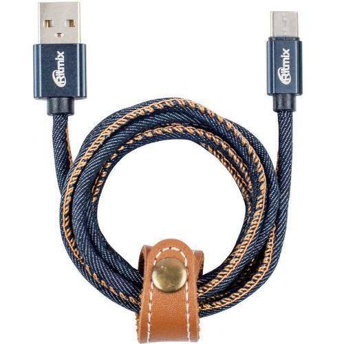 Кабель микро USB*2.0 Am-microB Ritmix RCC-417 Blue Jeans, в джинсовой оплётке, до 2.5А - 1 метр