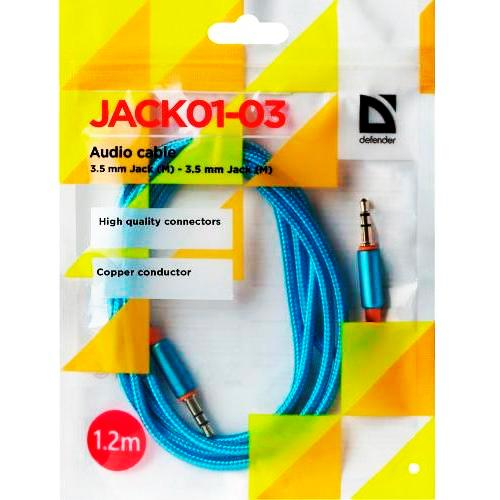 Аудио кабель штекер-штекер 3.5 мм Defender JACK01-03, синий - 1.2 метра