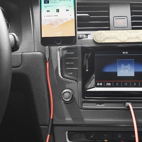 Аудио кабель штекер-штекер 3.5 мм 4-контакта с микрофоном для наушников, Hoco UPA12 Red, красный - 1 метр