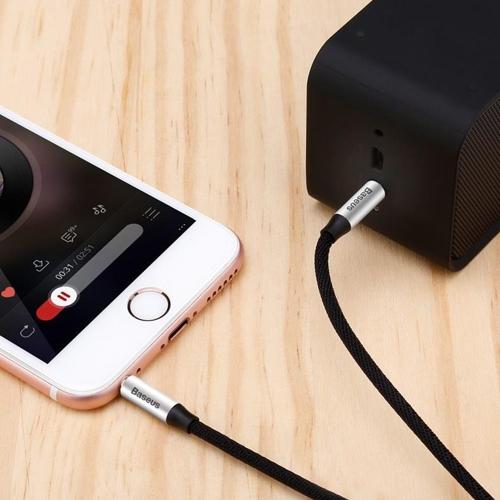 Аудио кабель штекер-штекер 3.5 мм, Baseus M30 Silver-Black, черно-серебристый - 1.5 метра
