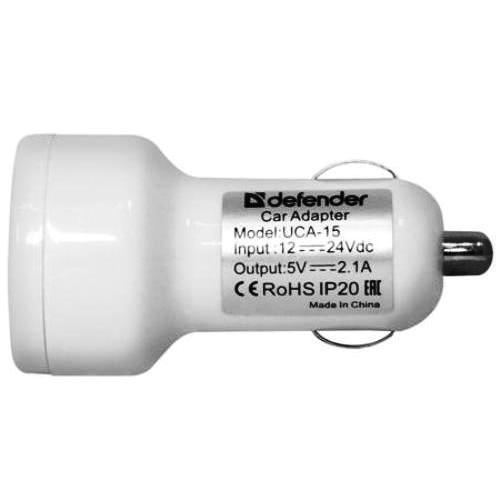 Автомобильный адаптер питания Defender UCA-15 зарядка 2А 2 USB-порта, белый