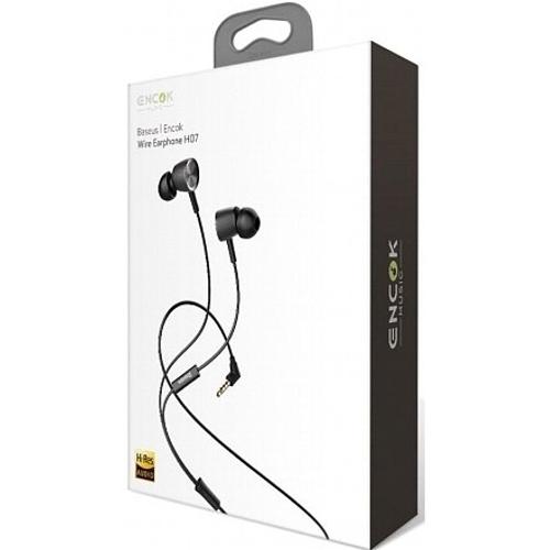 Наушники вкладыши с микрофоном Baseus, Encok Wire H07 Red Black, мобильная гарнитура, красно-черные