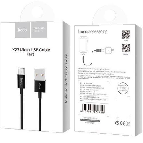 Кабель USB*2.0 Am-microB Hoco X23 Black, черный - 1 метр