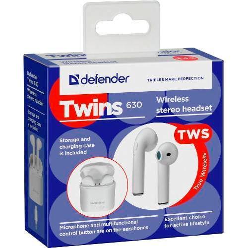 Bluetooth наушники вкладыши с микрофоном Defender Twins 630 TWS BT V4.2 беспроводная мобильная гарнитура