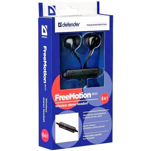 Bluetooth наушники вкладыши с микрофоном Defender B655 FreeMotion V4.2 беспроводная мобильная гарнитура для смартфонов