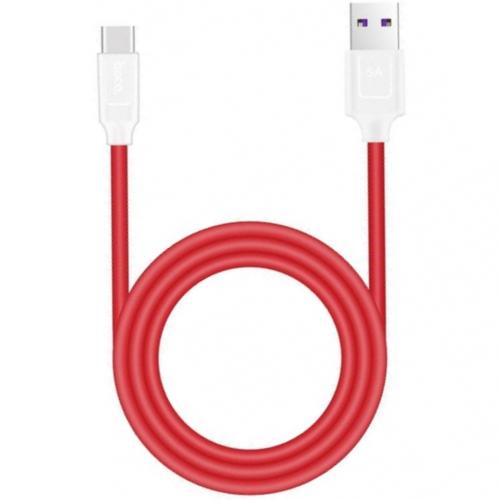 Кабель USB*2.0 Cm-Am Hoco X11 5А Rapid White Red, ускоренная зарядка, красно-белый - 1.2 метра
