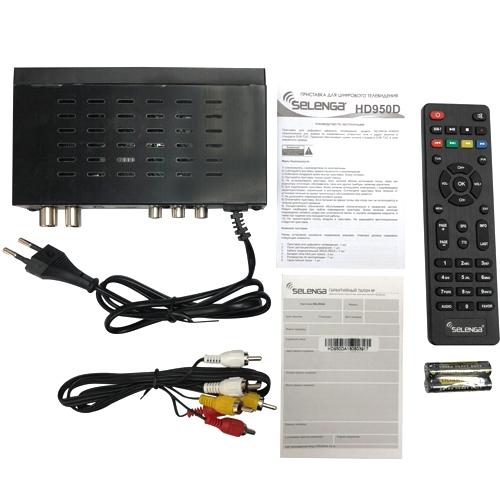 Ресивер DVB-T2 и DVB-C Selenga HD950D приёмник цифрового ТВ, Wi-Fi, IPTV, HDMI, 2 USB, DolbyDigital