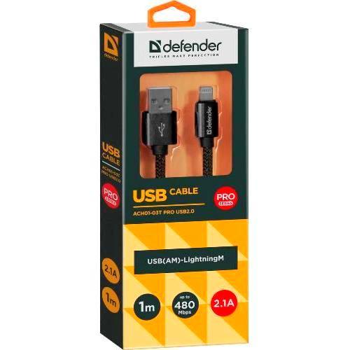 Кабель USB*2.0 Am - Lightning Defender ACH01-03T PRO AM-LightningM, чёрный, тканевая оплётка, медный проводник - 1 метр