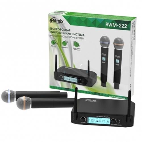 Микрофонная вокальная система беспроводная радио Ritmix RWM-222 два динамических микрофона, приём 50 метров
