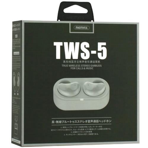 Bluetooth наушники вкладыши с микрофоном Remax TWS-5 White, беспроводная мобильная гарнитура, белые