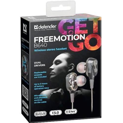 Bluetooth наушники вкладыши с микрофоном Defender B640 FreeMotion V5.0 беспроводная мобильная гарнитура для смартфонов