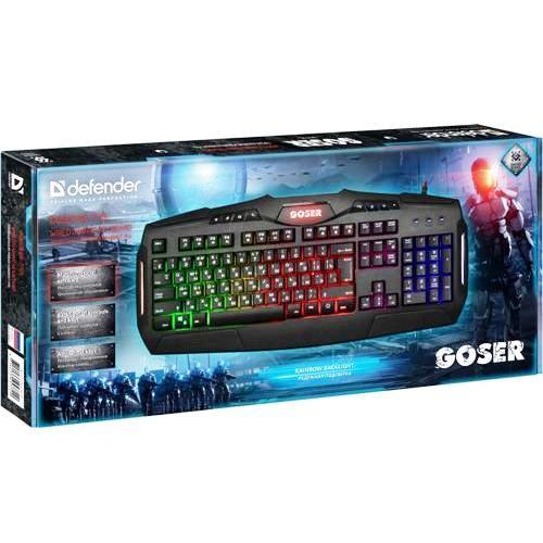 Клавиатура игровая usb Defender GK-772L RU Goser, RGB подсветка