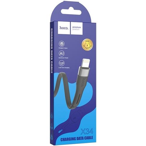 Кабель USB*2.0 Am - Lightning Hoco X34 2.4A Black, черный - 1 метр