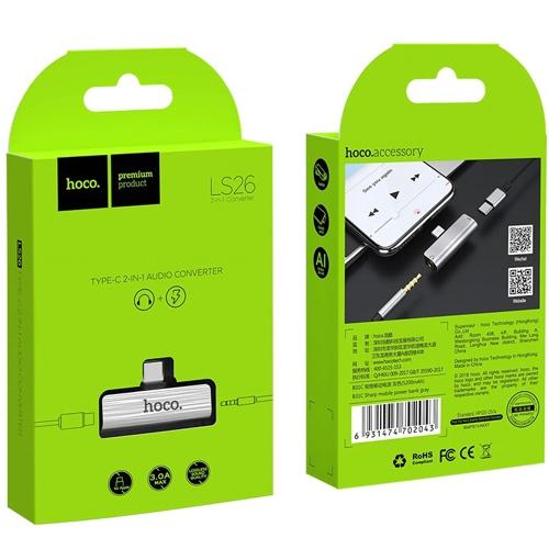 Аудио адаптер USB-C переходник на гнездо 3.5мм  плюс  дополнительное питание гнездо USB-C Hoco LS26 Silver, серебристо-черный