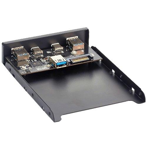 Фронтальная панель 4 порта 2Af USB*3.0  плюс  2Type-C USB*3.0 вывод с материнской платы в лицевой 5.25 д отсек U3H-619