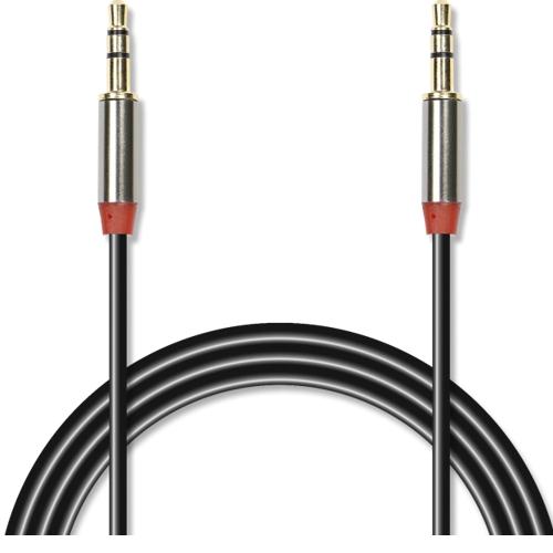 Аудио кабель штекер-штекер 3.5 мм, Jet-A JA-AC01, металлический разъём, позолота, чёрный - 1,5 метра