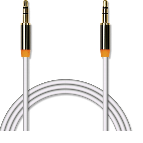 Аудио кабель штекер-штекер 3.5 мм, Jet-A JA-AC01, металлический разъём, позолота, белый - 1.5 метра