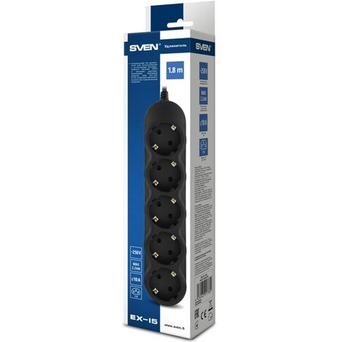 Блок силовых розеток для ИБП с вилкой C14 удлинитель 5 розеток, Sven EX-I5 чёрный - 1.8 метра